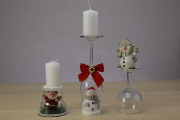 How to Make Festive Christmas Candle Holders Out of Wine Glasses