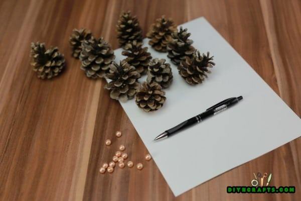 Supplies needed for the pinecone Christmas tree.