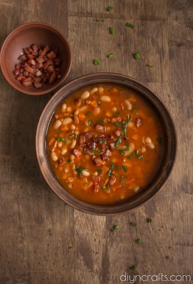 Yummy White Bean Soup with Crispy Bacon - Recipe
