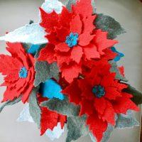 Beautiful Felt Poinsettia Stems