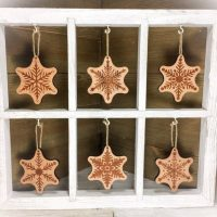 "1/4"" Hardwood Snowflake Ornament Set of 12"