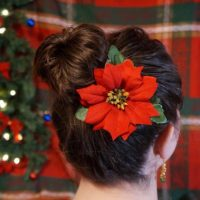 Red Poinsettia Christmas Hair Clip