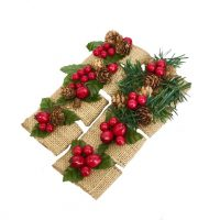 Burlap Berry Pine cone napkin ring