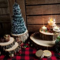 10 pc Wood Slice Lot Centerpiece Christmas Rustic Farmhouse Candle Holder