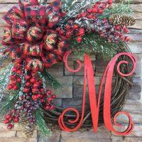 Red and Green Front Door Wreath