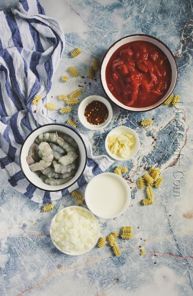 Ingredients for shrimp pasta.