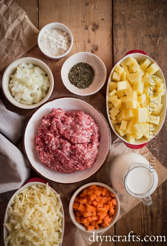 Ingredients for the cheeseburger soup.