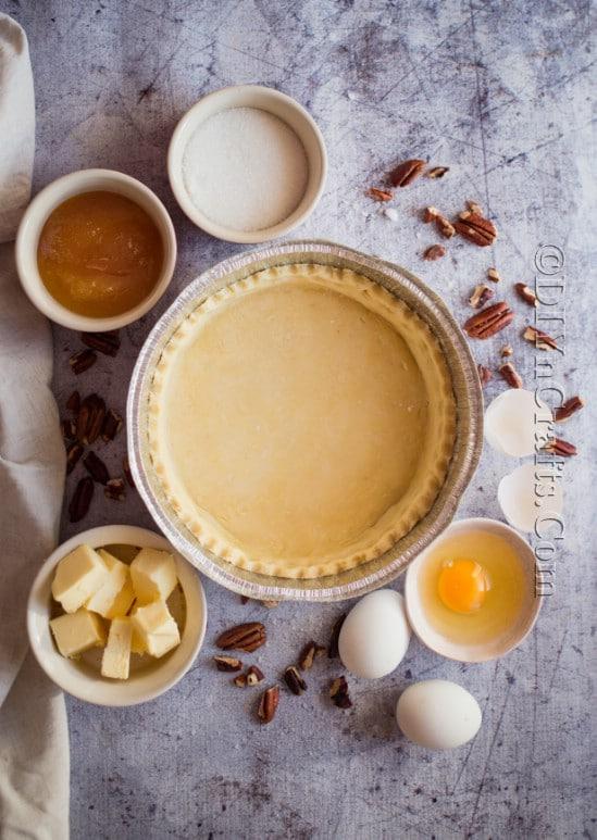 Pecan pie ingredients.