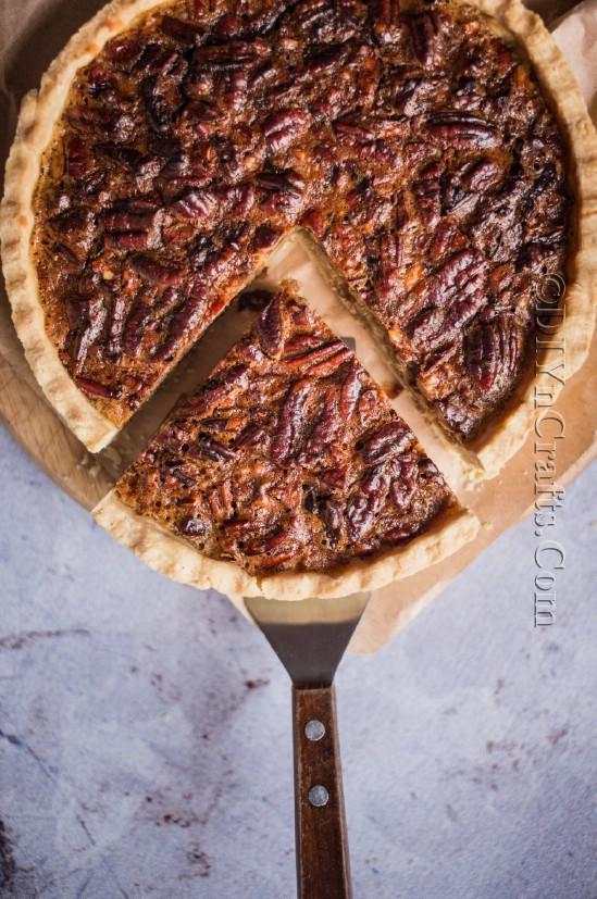 Finished pecan pie recipe.