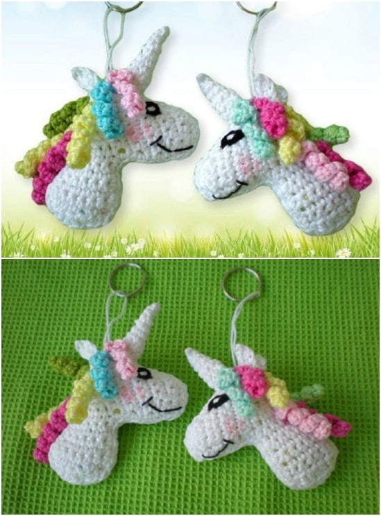 Crocheted Unicorn Keychain Pattern