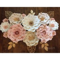 13 pc Blush, White and Gold Giant Paper Flowers