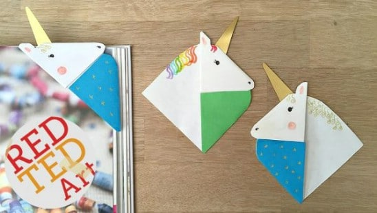 Simple DIY Corner Unicorn Bookmarks