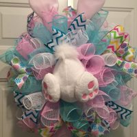 Easter Bunny wreath blue & pink