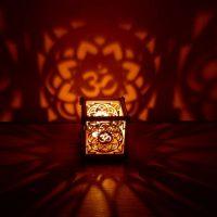 OM Lotus flower wooden tea light
