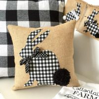 Black and White Bunny Pillow