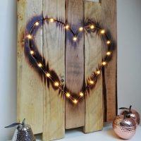Reclaimed wood burnt heart wall art