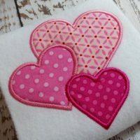 Applique hearts machine embroidery