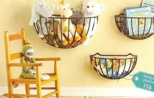 Repurposed Garden Basket Storage