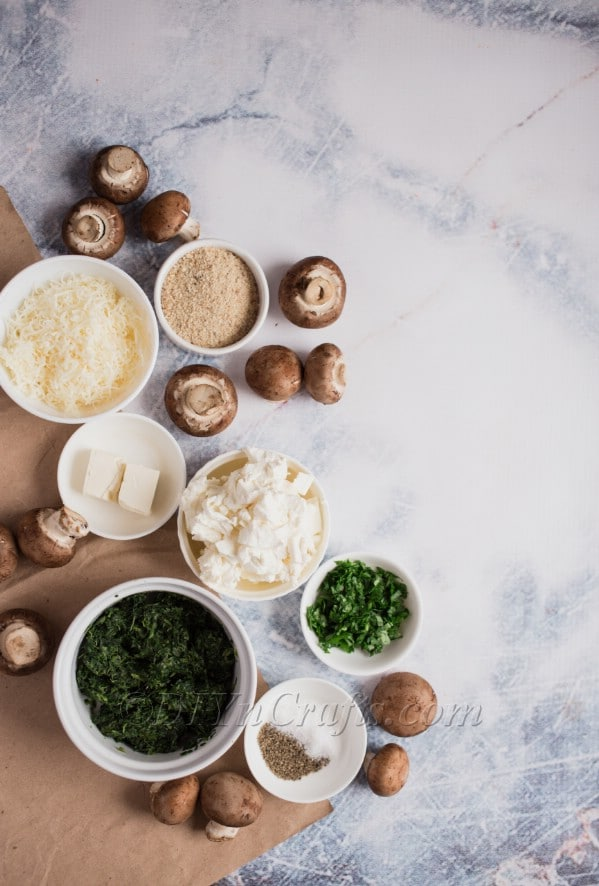Spinach filled mushrooms recipe ingredients.