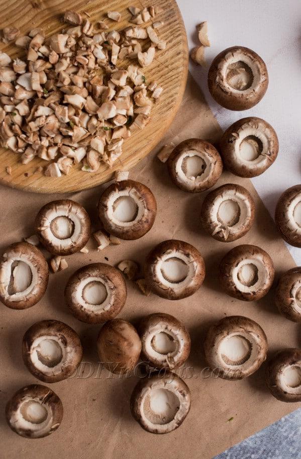 Preparing mushrooms.