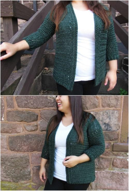 Short Heartland Crocheted Cardigan