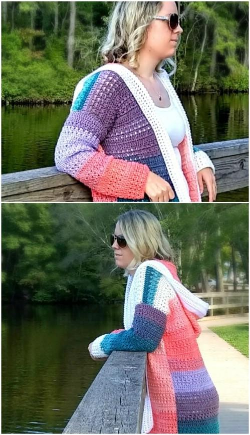 f039e7fd06f84a Simple Colorblock Crochet Cardigan