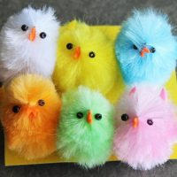 6 Large Chenille Chicks