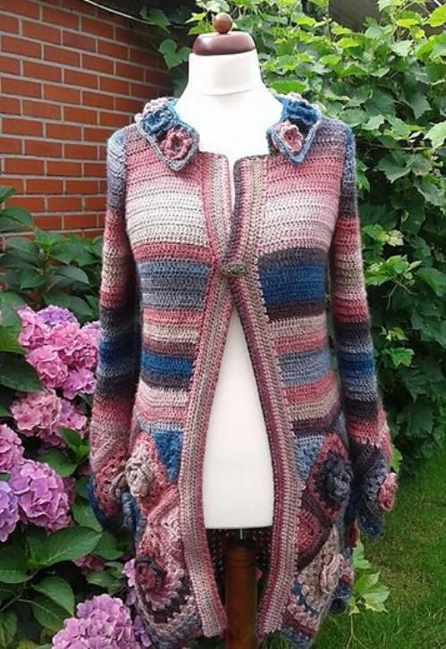 Crocheted Rose Bottom Cardigan