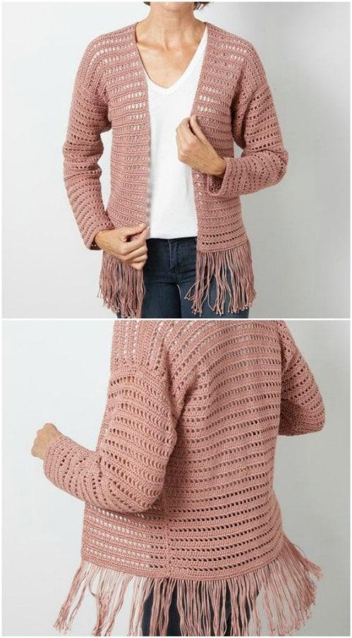 Crocheted Fringe Cardigan