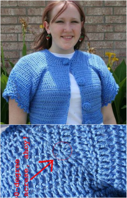 Short Button Front Crochet Cardigan