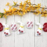 Set of 7 felt hanging Easter decoration
