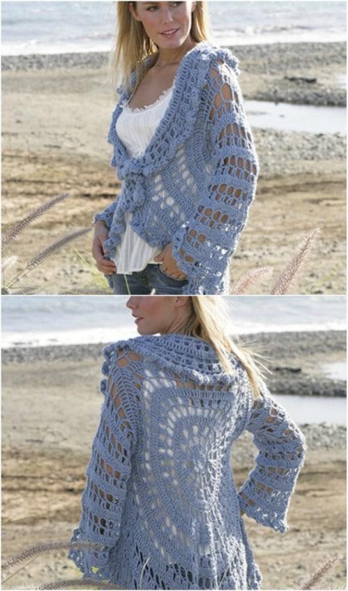b6ed5429aaf9c3 Lightweight Drop Circle Crochet Cardigan