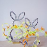 Silver Easter bunny with colourful bow ties