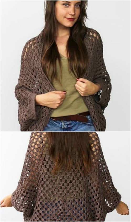 Open Weave Crochet Cocoon Cardigan