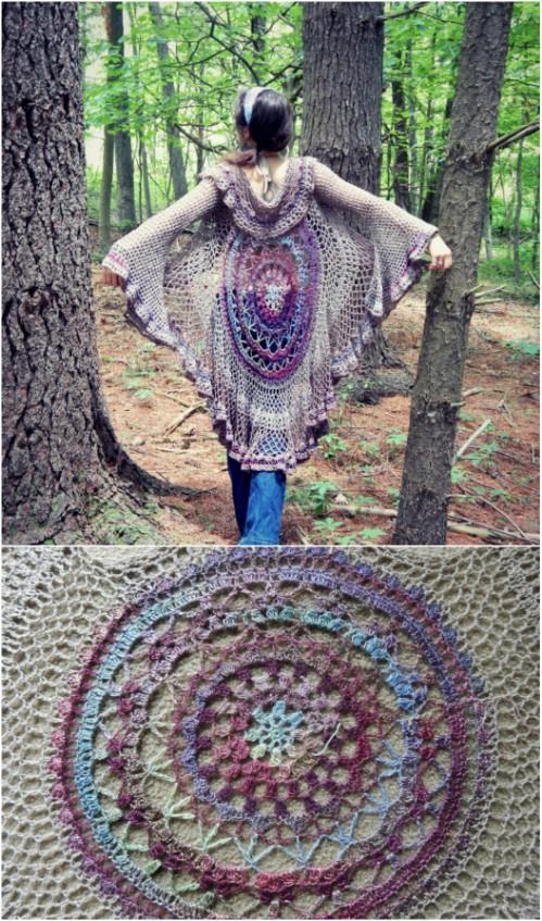 Circular Pattern Crochet Cardigan