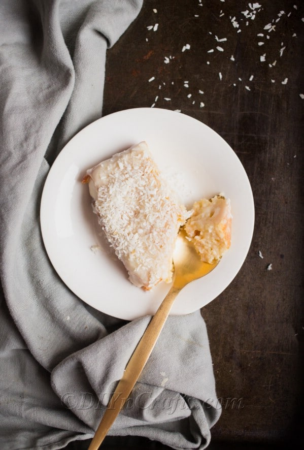 Coconut cake served.