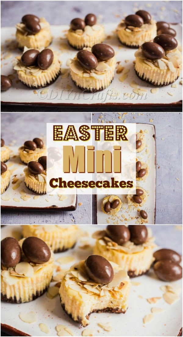 Easter Mini Cheesecakes With Almonds and Choco Bons