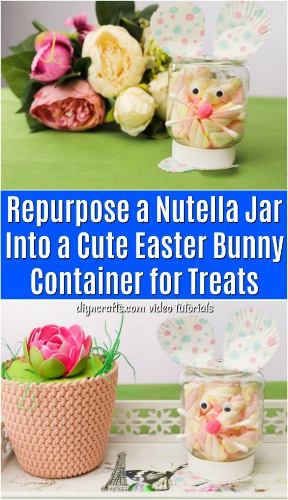 Repurposed Nutella Jar Into Easter Treat Jar