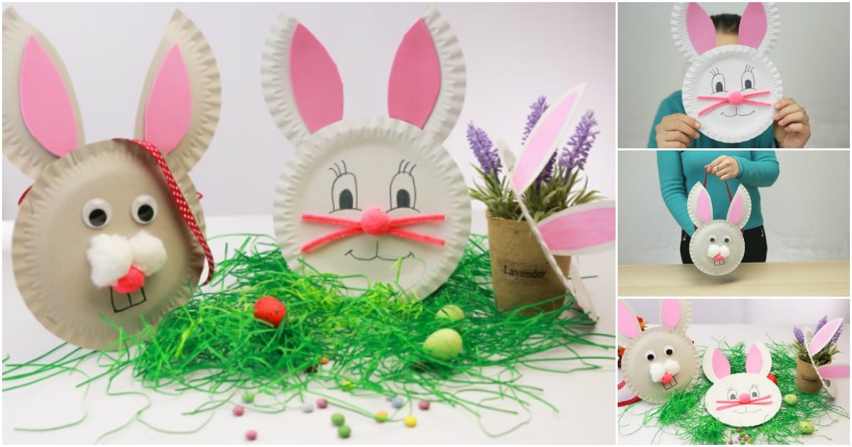 easter paper crafts plate plates bunny diy