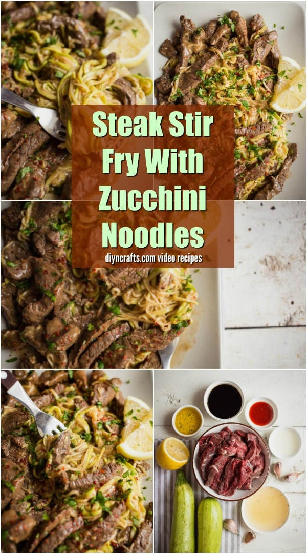 Steak Stir Fry With Zucchini Noodles - Tender and juicy steak stir fry with zucchini noodles is the perfect dish to serve up. Low carb, and packed full of rich and savory flavors. #steak #fry #zucchini #recipe