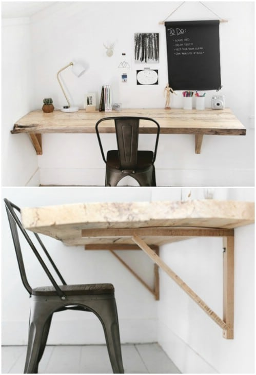 Rustic Wood Wall Mounted Desk