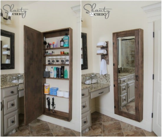 DIY Bathroom Mirror Storage Cabinet
