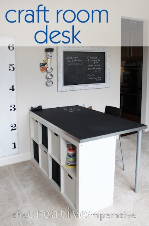 DIY Craft Desk With Shelves