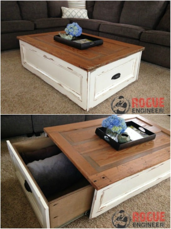 Farmhouse Style – Distressed Coffee Table With Storage