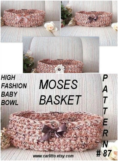Gorgeous Crochet Baby Moses Basket
