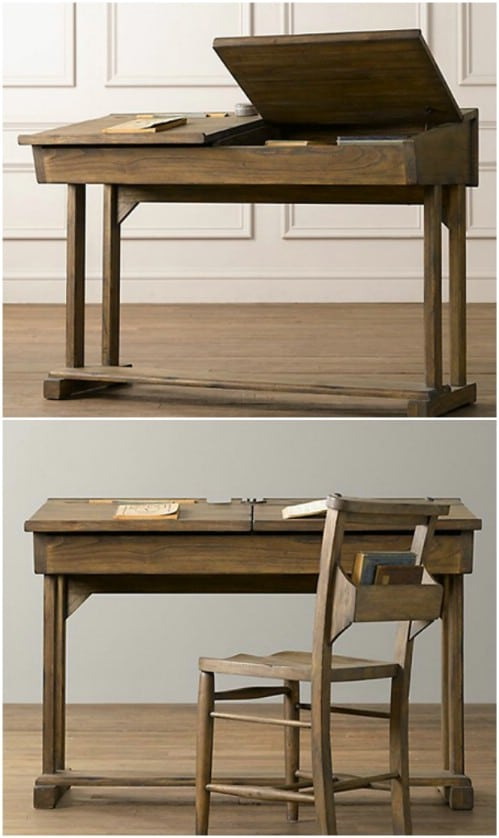 DIY Old Fashioned School Desk