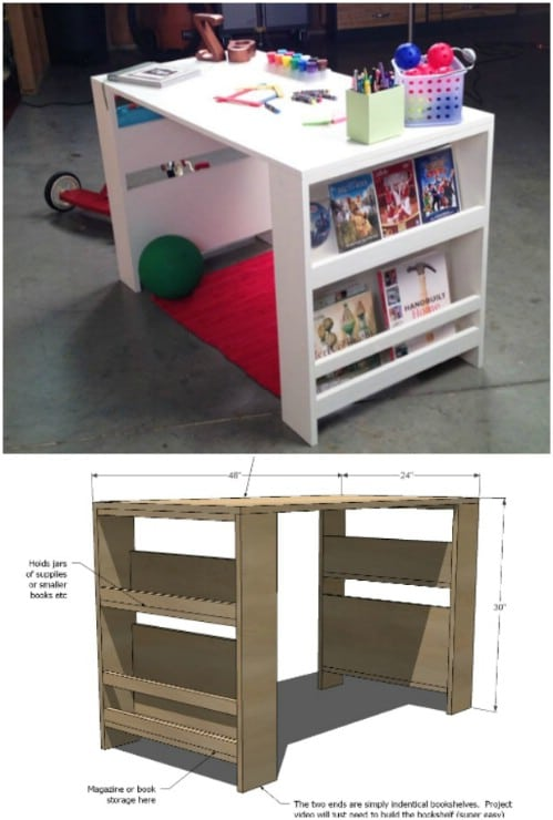 DIY Kids Storage Desk