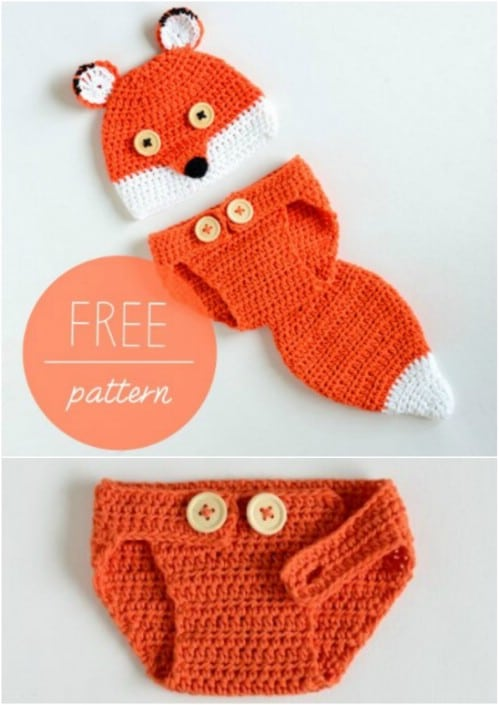 Cute Fox Crochet Hat And Diaper Cover Set