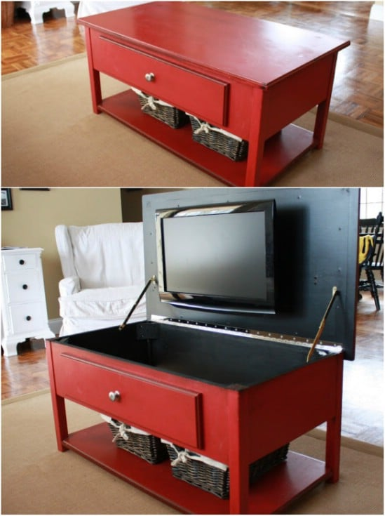 DIY Storage Drawer Coffee Table