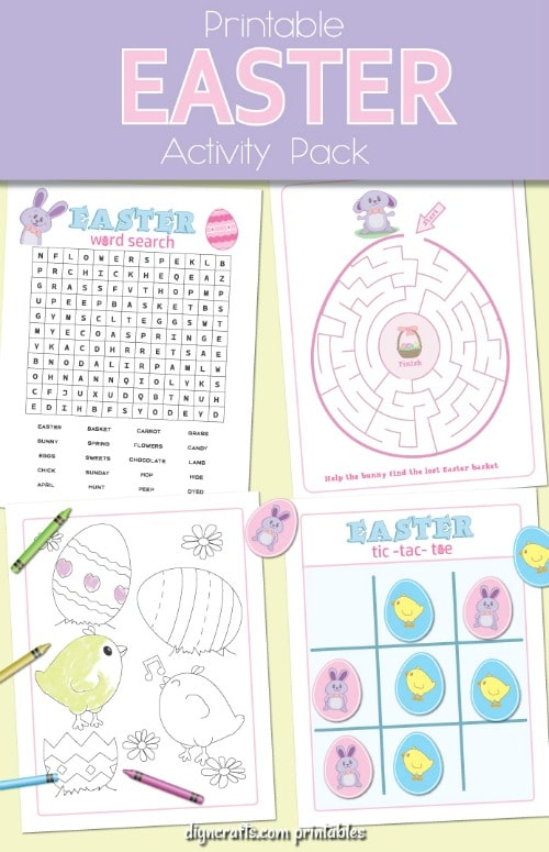 Preview of the second pack of the Easter printables and coloring pages.